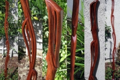 Leaf and Vine theme walking stick. Mahogany.