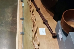 Tiger maple and walnut Organic Flame walking stick on display at the OC Fair.