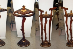 Cane stand for my collection, figured walnut, sapele, birds-eye maple, zebrawood.