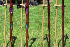 Stained glass themed cane, sapele, curly maple, agates.
