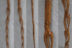 "White oak version of Organic Flame design walking stick. Hole on top to hold ""hood ornaments."""