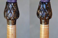 Top of walking stick. Blossom sealed with UV resistant polyurethane, rest of stick finished with 3 coats of teak oil.