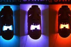 Tiki has color changing LED's inside, example of color shift. These are temporary, water-proof set will be installed.