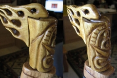 "V8 Tiki ""hood ornament"" carved for walking stick topper."